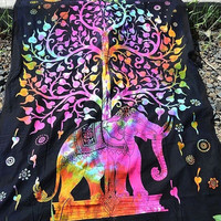 HIPPIE PSYCHEDELIC FABRIC Elephant Wall Tapestry Hippie Boho Bedding Bedspread Throw Bohemian Wall Hanging Twin Ethnic Home Decor Art