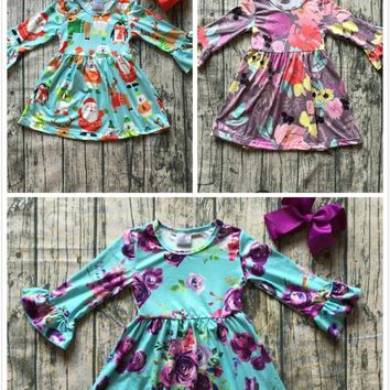 new milk silk Christmas girls children clothes baby cotton Fall/Winter santa floral purple long sleeve ruffle dress boutique kid