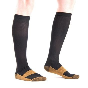 1pair Unisex Anti-Fatigue Compression Socks Foot Pain Relief Soft Miracle Copper Anti Fatigue Magic Socks Support Knee Men Socks