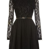 Studded belt lace skater dress
