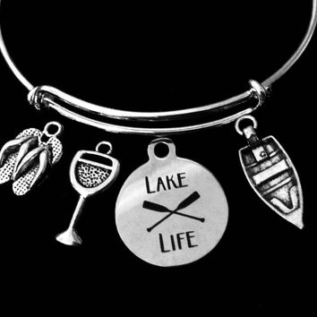 Lake Life Jewelry Adjustable Bracelet Expandable Silver Charm Bangle Flip Flops One Size Fits All Gift Summer Fun