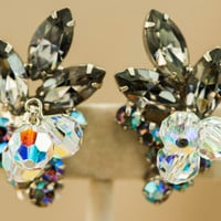 Rhinestone Earrings-Juliana D&E Verified-Black Diamond Faceted Crystal Earrings-Clip Style-Silver Tone-Vintage