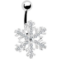 Body Candy Stainless Steel Clear Accent Paved Winter Wonder Snowflake Belly Ring