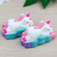 Unicorn Horse On Clouds Squishy Toy Gags Joke Toy Kids Gift Toy Squeeze Slow Rising Fun Decor
