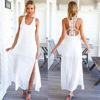 Casual White Strap Side Slit Lace Back Maxi Dress