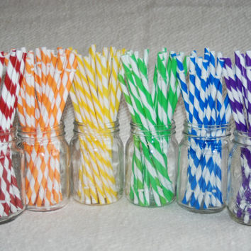 Reusable Straws BPA Free Eco Friendly Striped Blue Green Purple 15 For DIY  Making Your Own  Mason Jar Cup