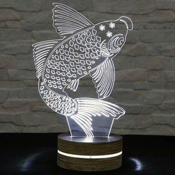 Koi Fish, 3D LED Lamp, Office Decor, Lucky Symbol, Koi Fish Art, Home Decor, Plexiglass Lamp, Decorative Lamp, Acrylic Lamp