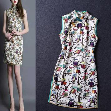 Fashion Sexy print show thin Improved collar button cheongsam dress