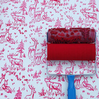 Patterned Paint Roller in Aspen Frost Design from NotWallpaper Moose and Nature wall stencil