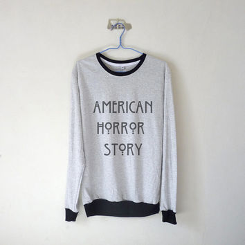 American Horror Story Unisex Long Sleeve Tshirt / White Grey / Oversized