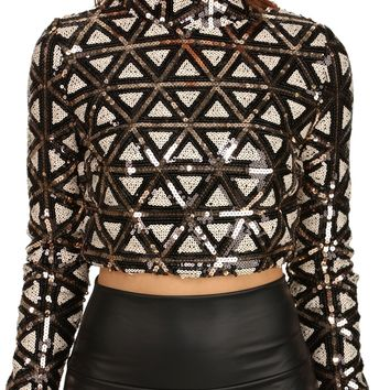 Multi Sequin Mock Crop Top