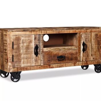 VidaXL Industrial-Style TV Cabinet Rough Mango Wood Living Room Furniture Tv Stand Organizador Chest Of Drawers 120x30x50 Cm