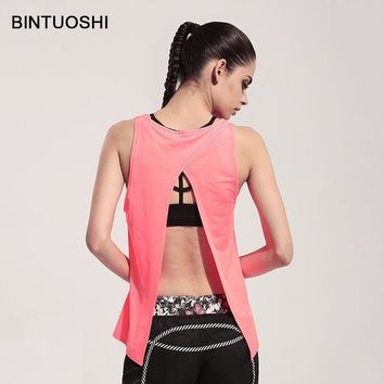 BINTUOSHI Open Back Yoga Shirt Split Irregular Sports Top Sleeveless Sport Shirt Backless Gym Workout Clothes Women Yoga Vest