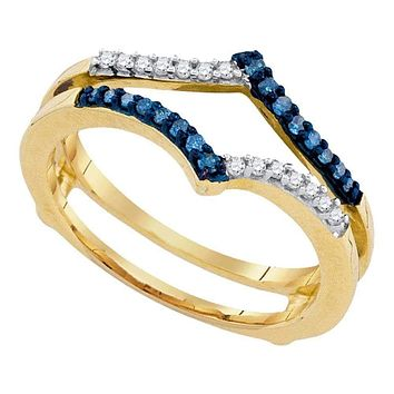 10kt Yellow Gold Womens Round Blue Color Enhanced Diamond Ring Guard Wrap Enhancer Band 1/5 Cttw - FREE Shipping (US/CAN)