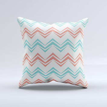 Vintage Coral & Teal Abstract Chevron Pattern Ink-Fuzed Decorative Throw Pillow