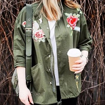 Basic Outwear Spring/Fall Over sized Ethnic Embroidered Jacket