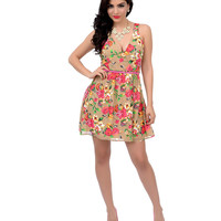 Tan & Pink Floral Surplice Sleeveless Belted Fit & Flare