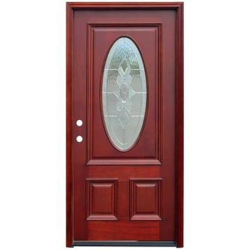 Pacific Entries 36 in. x 80 in. Traditional 3/4 Oval Stained Mahogany Wood Prehung Front Door-M64STMR - The Home Depot