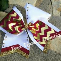 Maroon Gold chevron tick tock cheer bow Team discounts All Star Competition Bows team gifts