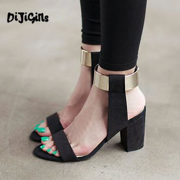 Hot Fashion Ankle Strap Glitter Bling Square High Heel Sandals Women's shoes Black Dro