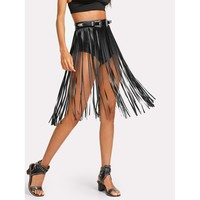 Faux Leather Fringe Skirt