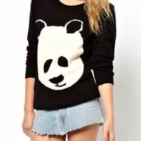 Black Panda Patchwork Knitted Sweatshirt