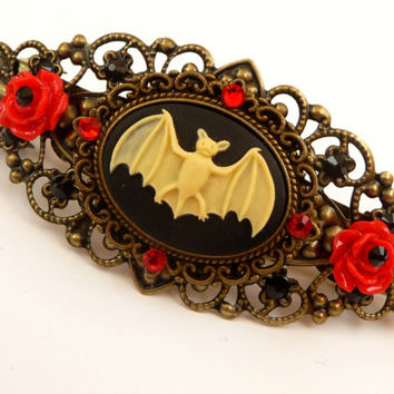 Gothic Cameo barrette with bat and red roses, antique hair jewelry