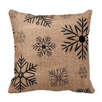 Black Snowflakes On Rustic Burlap Christmas Pillows