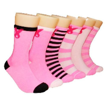Pink Breast Cancer Awareness Crew Socks 9-11