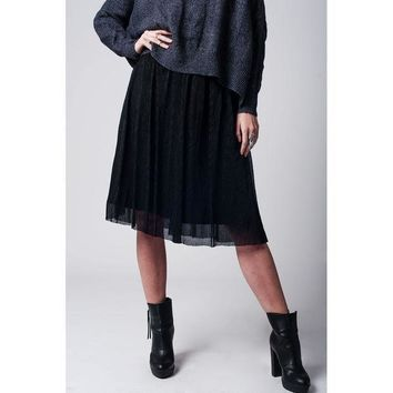ICIK8BW BLACK METALLIC PLEATED MIDI SKIRT