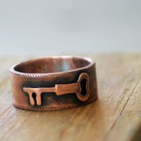 Key Band Ring Wide Copper Band by monkeysalwayslook on Etsy