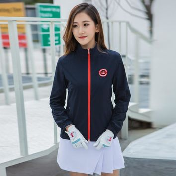Golf Women's Jacket Lightweight Windbreaker Jacket Nylon Ladies Sport Golf Clothing Long Sleeve Shirt Windproof