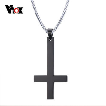 Vnox Male Black St Peter's Inverted Cross Pendant Necklace for Men Stainless Steel Choker Crux de Sanctus Petrus Jewelry