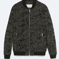CAMOUFLAGE FAUX LEATHER BOMBER Lookbook