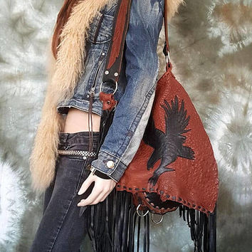 Brown & Black fringe leather tribal people hobo eagle bird aztec navajo navaho southwestern free indians boho l sweetsmokebags festival