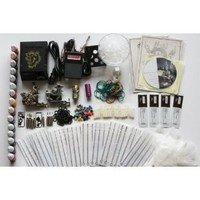 Deluxe Complete Tattoo Kit 4 Machine Gun Power Supply 50 Needles 20 Color Inks (K4)