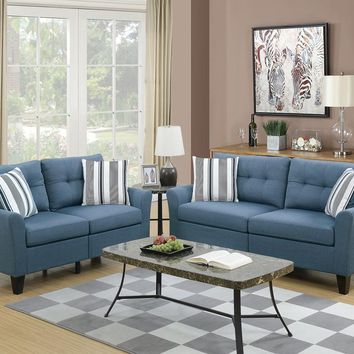 Glossy Polyfiber 2 Piece Sofa Set In Blue