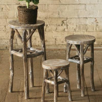 Set of 3 Round Pedestals with Twig Legs - Whitewashed