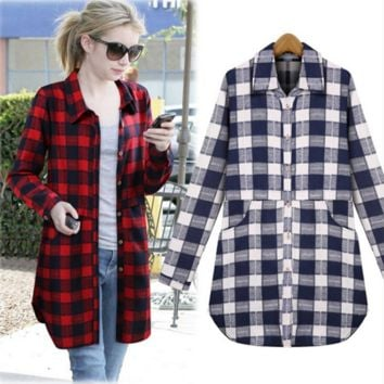 Loose Large Size cotton  casual grid  shirt B0016368