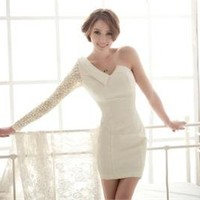 New Hot Sexy Women's Classy One-shoulder Lace Sleeve Cocktail Evening Club Dress