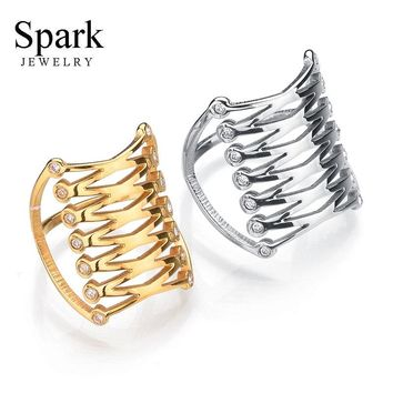 Punk Stainless Steel Hollow Bird Nest Rings For Women Men Personality Gold Color Round 3D Midi Finger Rings Jewelry Gift