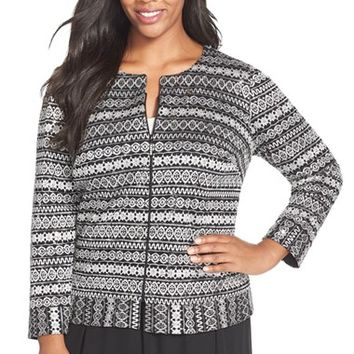 Plus Size Women's Alex Evenings Zip Front Jacquard Jacket,