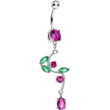 Pink Gem Budding Flower Vine Dangle Belly Ring | Body Candy Body Jewelry