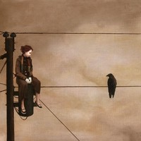 """Girl On Wire"" - Art Print by Jeremy Aaron Moore"