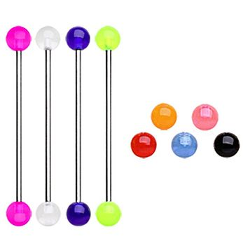 316L Industrial Barbell with UV Acrylic Balls