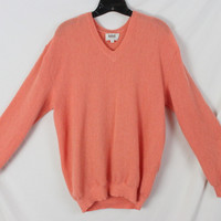 Kabat Ocean City Mens Alpaca Sweater M size Orange Soft Lightweight Vneck All season