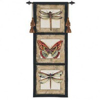 Fine Art Tapestries Butterfly Dragonfly II Tapestry - 3124-WH - Decor
