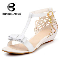 Cute Bowtie Summer Woman Shoes Low Wedge Heel