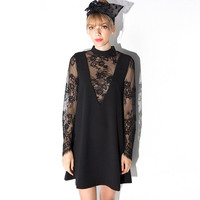 Black Deep V Sheer Mesh Lace Long Sleeves Shift Dress