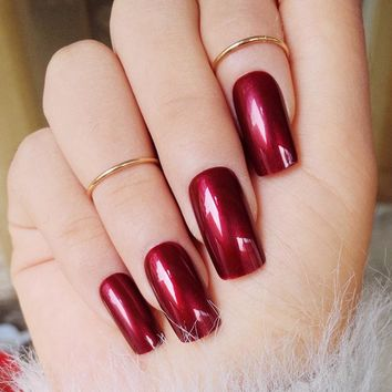 Specular Reflection Vampire Wine Red False Nails Shiny Square Long Solid Nail Tips with Glue Sticker Z431